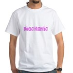 Mechanic Pink Flower Design T-Shirt