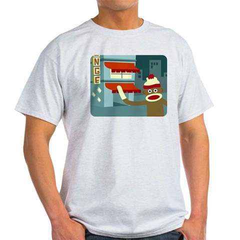 Sock Monkey Lounge Humor Light T-Shirt by CafePress