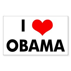 I Heart Obama Sticker (Rectangular)