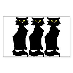 Yellow-Eyed Cats Sticker (Rectangular)