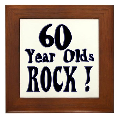 60 Year Olds Rock Birthday Framed Tile By Cafepress