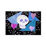 Gothic Skull & Hearts Rectangle Magnet