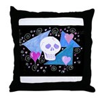 Gothic Skull & Hearts Throw Pillow