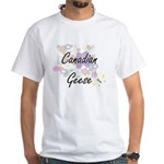 Canadian Geese artistic design with flower T-Shirt