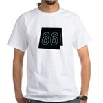 Black and Blue 86 Table Tent White T-Shirt