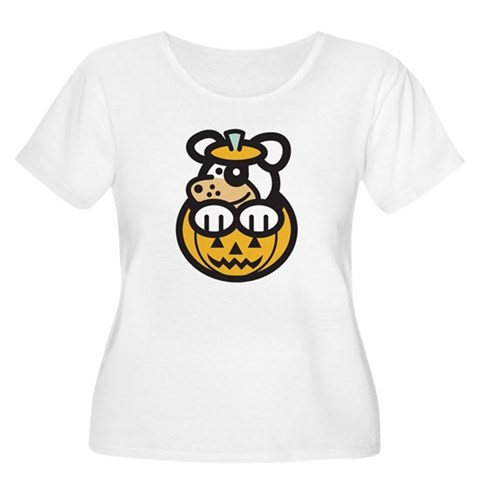 Cute Puppy in Pumpkin Women's Plus Size Scoop Neck Cool Women's Plus Size Scoop Neck T-Shirt by CafePress