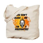 Halloween firefighter costume trick or treat tote bag with flames and scary, spooky skull! Check out matching collection here......