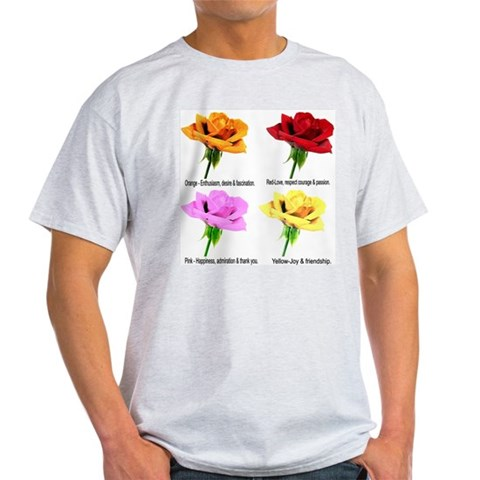 Rose Meanings-2 Ash Grey T-Shirt Love Light T-Shirt by CafePress