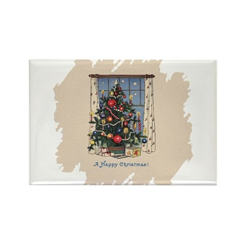 Christmas Tree Vintage Rectangle Magnet 100 pack by CafePress