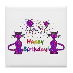 cat lovers birthday gift ceramic tile