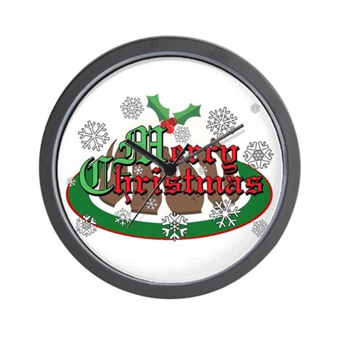 Christmas Pudding Christmas Wall Clock by CafePress