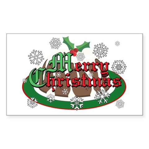 Christmas Pudding Rectangle Sticker Christmas Sticker Rectangle by CafePress