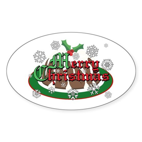 Christmas Pudding Oval Sticker Christmas Sticker Oval by CafePress