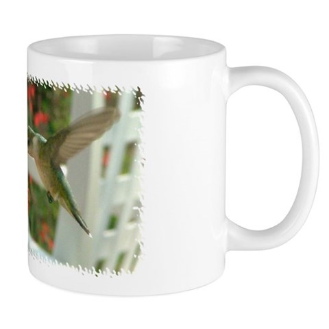 1998 Hummingbird Drinking From Zinnia  Photography Mug by CafePress