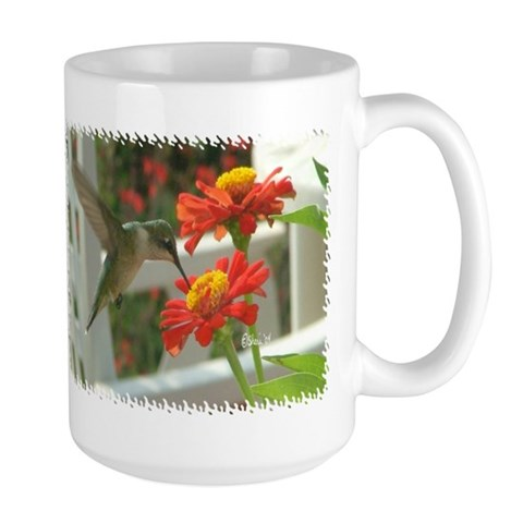 1998 Hummingbird Drinking From Zinnia  Photography Large Mug by CafePress