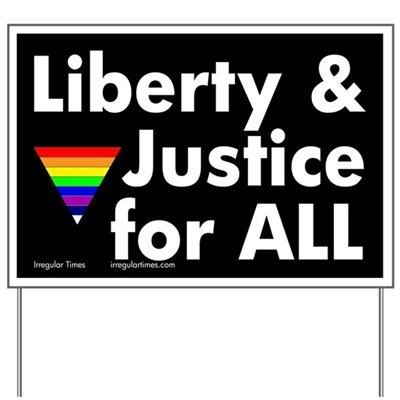 The rainbow triangle, along with the phrase Liberty and Justice for ALL, showcases your support for lesbian, transgender and gay rights when you put this lawn sign in front of your home.