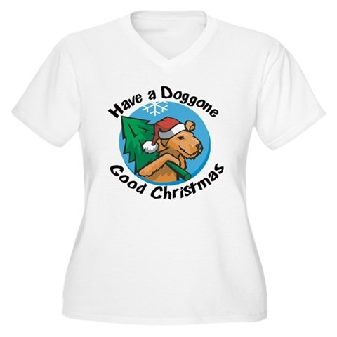 Have a doggone good christmas Women's Plus Size V- Christmas Women's Plus Size V-Neck T-Shirt by CafePress