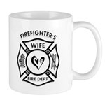 Firefighter's wife gift mug in regular and large size is perfect for coffee and features firefighting theme logo and heart in the center.