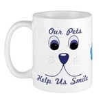 Our Pets Help Us Smile, Mugs, T-shirts and more