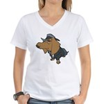 Male Dachshund Women's V-Neck T-Shirt