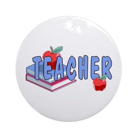 Teacher Apples Ornament Round Funny Round Ornament by CafePress