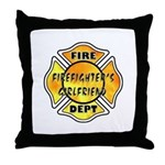 Firefighters Girlfriend Throw Pillow with our fire department theme logos.  Personalized matching t-shirts, firefighter tote bags, travel mugs, coffee mugs, key rings and a great selection of fireman's wife, daughter and mother gifts personalized pillows.