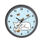 Kitty Daisies Wall Clock is a fun cat design snuggled in butterfly and flower themes! Check out our exclusive cat theme design on clocks, t-shirts, baby gifts and matching tote bags, mouse pads, travel mugs and more! Animal cat lovers will have fun browsing our cat designs......