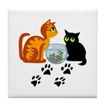 Fish Bowl Kittys Tile Coaster