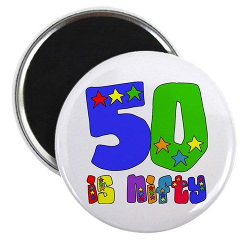 50 is Nifty stars  Birthday 2.25 Magnet 100 pack by CafePress