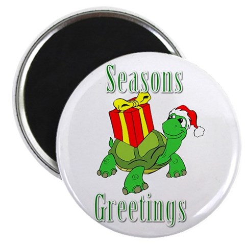 Seasons Greetings Turtle Christmas Magnet by CafePress