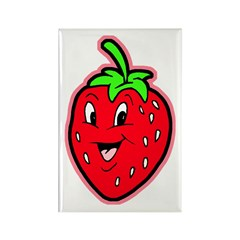 Happy Strawberry Rectangle Magnet