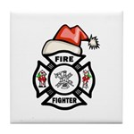 Christmas Firefighters Tile Coaster