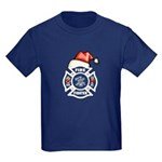 Christmas Firefighters Kids Dark T-Shirt