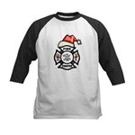Christmas Firefighters Kids Baseball Jersey