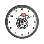 Christmas Firefighters Wall Clock