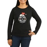 Christmas Firefighters Women's Long Sleeve Dark T-