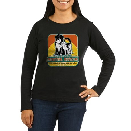 Animal Rescue Dog and Cat Women's Long Sleeve Dark