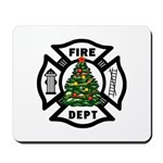 Fire Dept Xmas Mousepad is personalized for firefighters and the holiday season!  Mousepads for police, EMT's, nurses and teachers holiday themes also available!