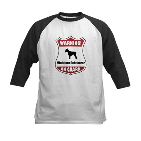 Schnauzer On Guard Pets Kids Baseball Jersey by CafePress