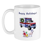 Christmas gift mugs for paramedics, firefighter EMT's, EMT and EMS workers! Browse our personalized EMT holiday themes on tote bags, Christmas decorations, t-shirts and maternity tee's! Who can resist santa claus, ambulances and a sleigh full of EMS fun!