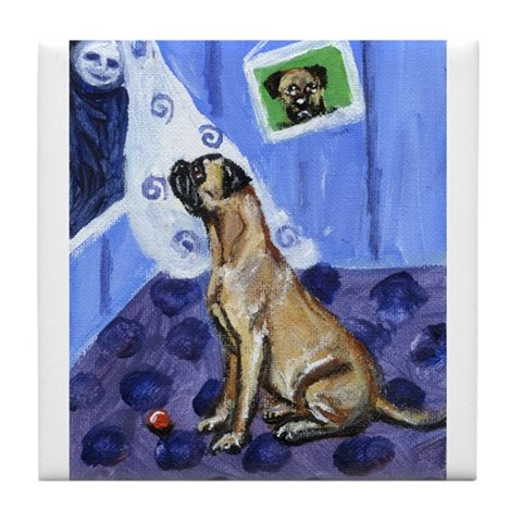 BULL MASTIFF moon Design Art Tile Coaster by CafePress