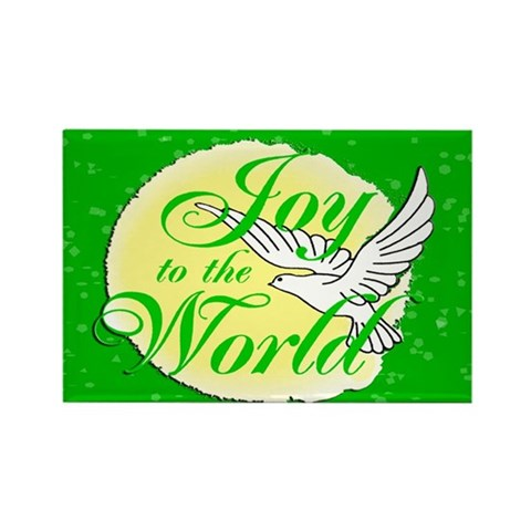 Stocking Stuffers Joy to the World Rectangle Magne Christmas Rectangle Magnet by CafePress