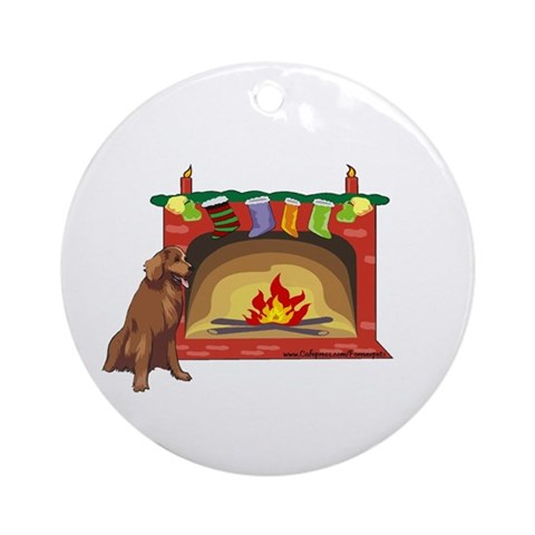Golden Retriever Xmas Ornament Round Pets Round Ornament by CafePress