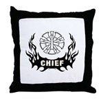 "Fire Chief Throw Pillow Adds stylish fun to any room with our roomy Throw Pillow. It measures a sprawling 18"" X 18"" with an 11"" X 11"" image area so you can lounge in comfort. It's made of ultra-soft brushed twill with a sturdy canvas image area. Ships with pillow insert. Removable zippered cover for easy laundering."