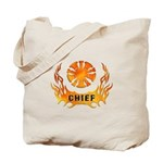 Chiefs Tote Bag is personalized in flames and bugles. Matching fire chief t-shirts, clocks, watches and mugs are great personalized firefighting gift ideas.......