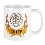Gift mugs for the fire chief personalized with our blazing flames tattoo!  Ceramic coffee gift mugs also have matching firefighter and chief t-shirts, clocks, mousepads, watches and many other personalized gift ideas!
