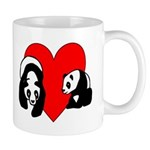 Panda Love Mug.  Personalized panda t-shirts, gift mugs, clocks and mousepads! Browse our panda bear tote bags, baby gifts, buttons and note cards!