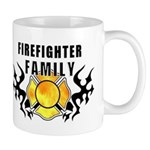 Firefighter Family Mug.  Firefighter family personalized gifts and t-shirts for your proud firefighter family! Firefighter theme tattoo designs on t-shirts, gift clocks, coffee mugs and baby gifts! Browse our exclusive design