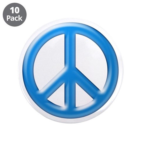 Blue Chrome Peace Sign  Vintage 3.5 Button 10 pack by CafePress