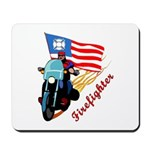 Firefighter Biker Mousepads and personalized mousepads with matching gift clocks, t-shirts, travel mugs and watches!  Personalized gifts for firefighters with new and unique designs.